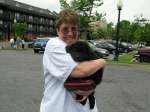 Katie and her happy adopter pose for a pic before heading to Katie's forever home